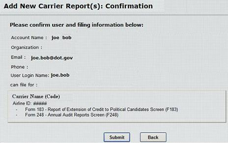 Figure 22:  Add New Carrier Report(s) Confirmation