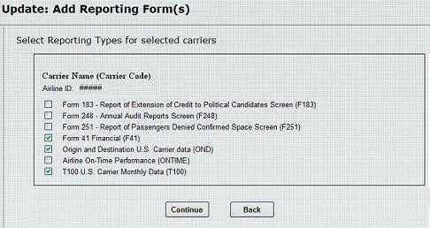 Figure 21:  Add Reporting Form(s)