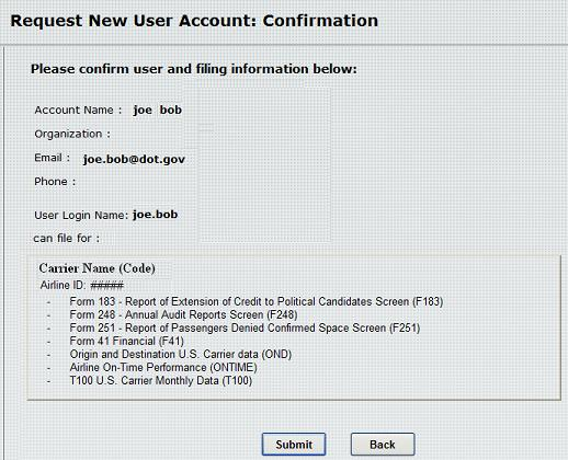 Figure 5:  Request New User Account: Confirmation