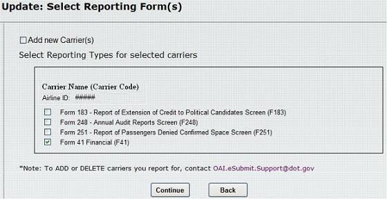 Figure 9:  Update: Select Reporting Form(s)