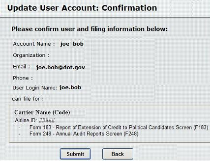 Figure 19: Update User Account:  Confirmation